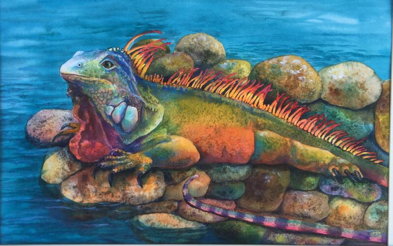 Iguana, watercolor by Shirley Green