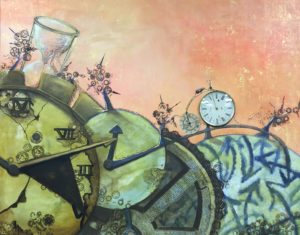 """Time Spins On,"" Mixed Media Complementary Therapy Art Group project."